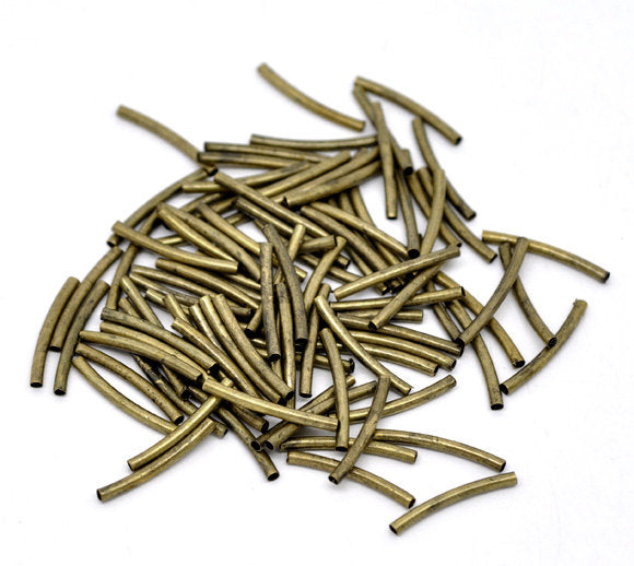 Antique Bronze Tube Beads -  Curved - 20mm x 2mm -  Noodle Bronze Tube Bead