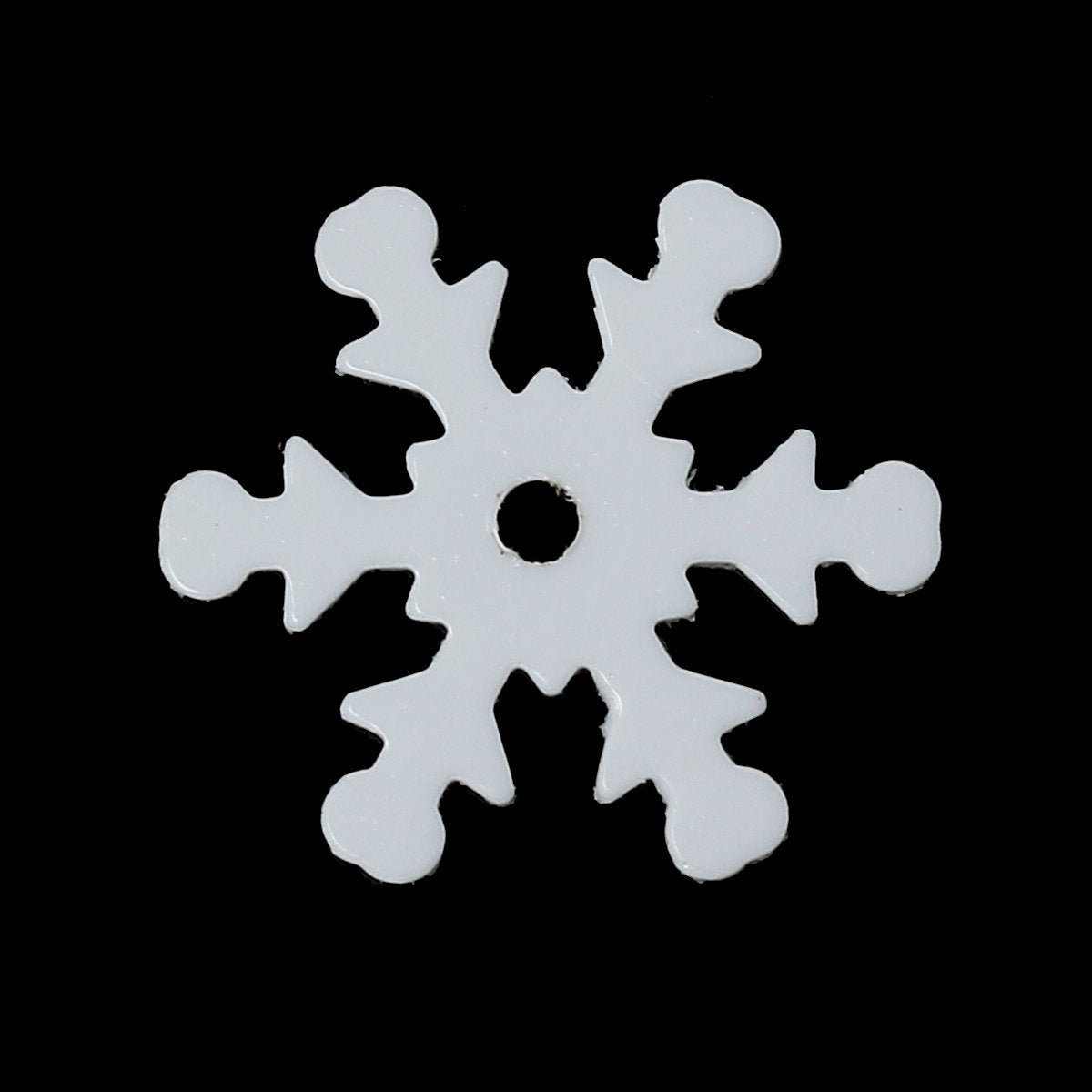 "Holiday Christmas Sequins - White Snowflake - 13mm x 12mm (1/2"" x 1/2"") (47944)"