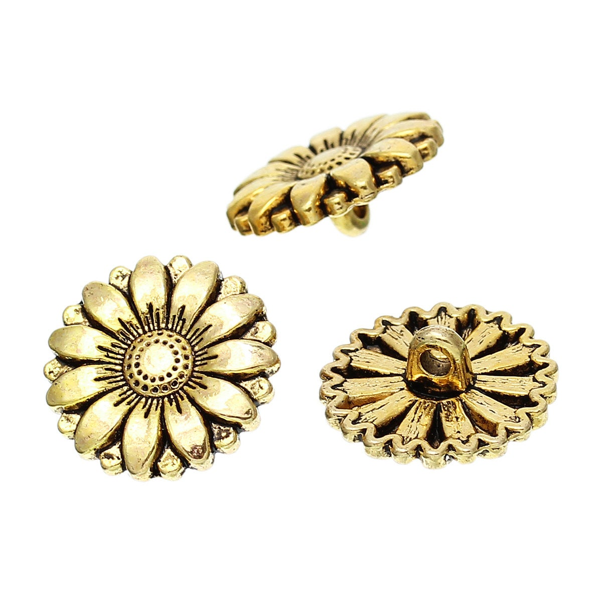 5 Antiqued Silver or Gold Metal Buttons 18mm Round
