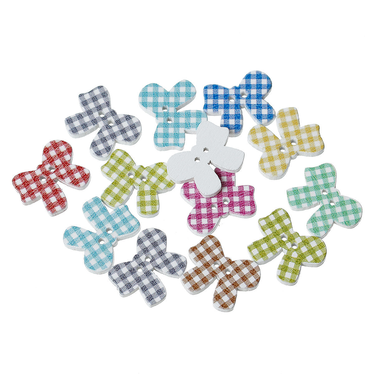 "Bow Shaped Wooden Buttons - 20mm x 16mm (3/4"" x 5/8"") - 2 Hole - Gingham Design"