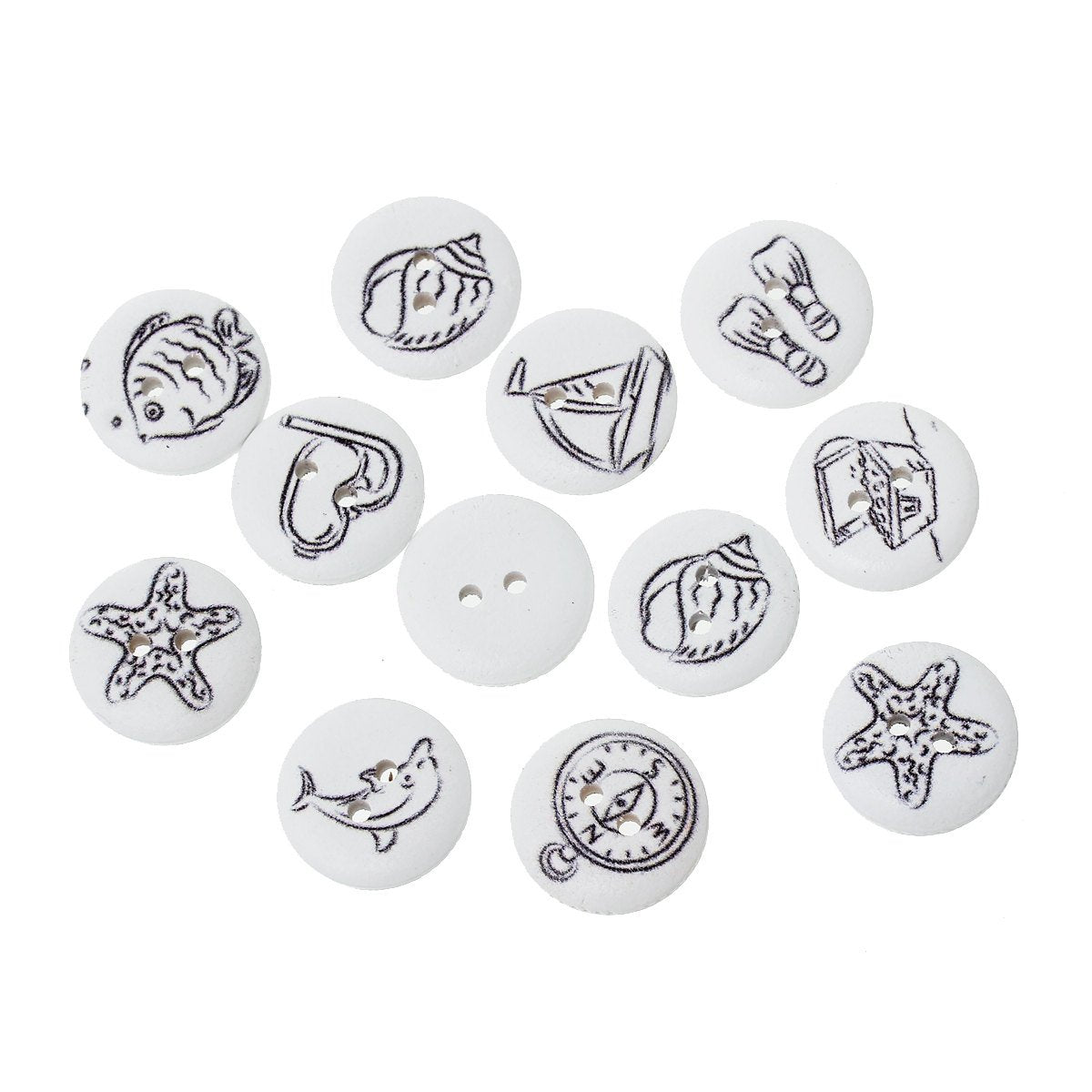 "Nautical Wooden Buttons - Black White - 18mm (3/4"") - Wood Button - Mixed Designs (46822)"