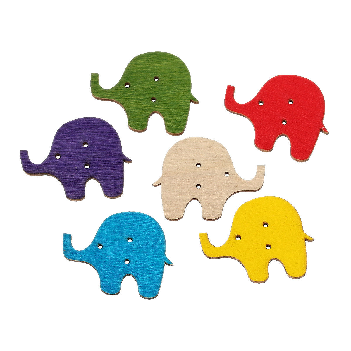 "Elephant Wooden Buttons - 3.4cm x 2.7cm(1 3/8"" x 1 1/8"") - 2 Hole"
