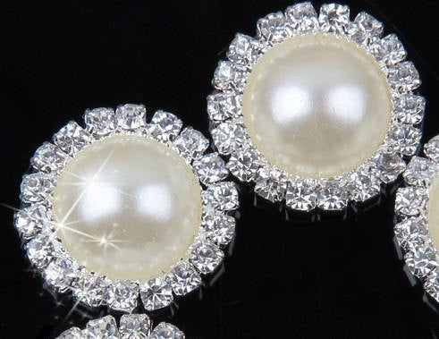 10 Ivory White Pearl Rhinestone Flatback Button - Silver - 18mm Metal Button - Pearl Rhinestone Buttons - Hair Bow Centers (PWRB