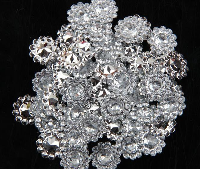 10 Rhinestone Button - Acrylic - 10mm Embellishment - Crystal Rhinestone Buttons - Hair Bow Centers