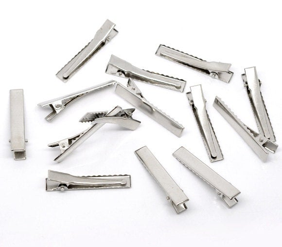 50 Alligator Hair Clips with Teeth - Single Prong - Silver
