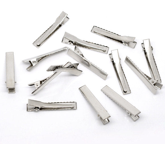 100 Alligator Hair Clips with Teeth - Single Prong - Silver -  46mm x 8mm - Hair Clip Accessories