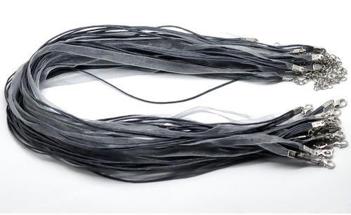 20 Black Gray Organza Ribbon Necklaces - Lobster Clasp