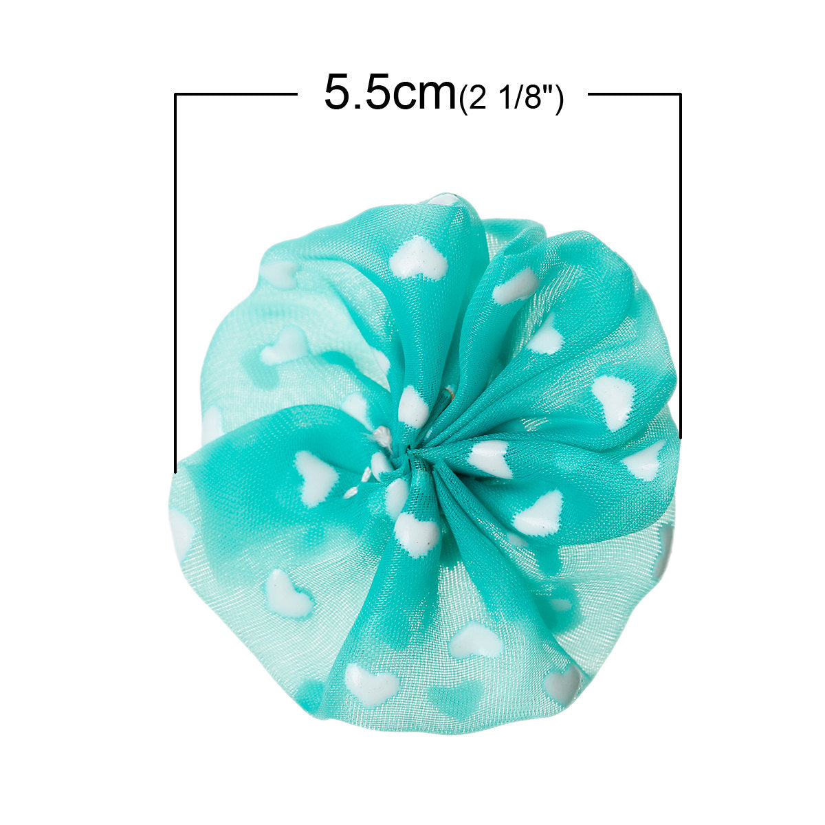 "2"" Blue Ballerina Flower - Hearts - Unfinished DIY - Chiffon Fabric Flowers - Blue DIY Baby Headbands Wholesale Craft supplies"