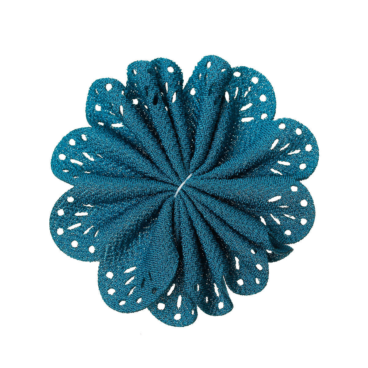 Peacock Blue Fabric Flower - 3 1/8 inch (7.8cm) - Unfinished DIY - Textured Fabric Flowers -  DIY Baby Headbands Wholesale Craft supplies