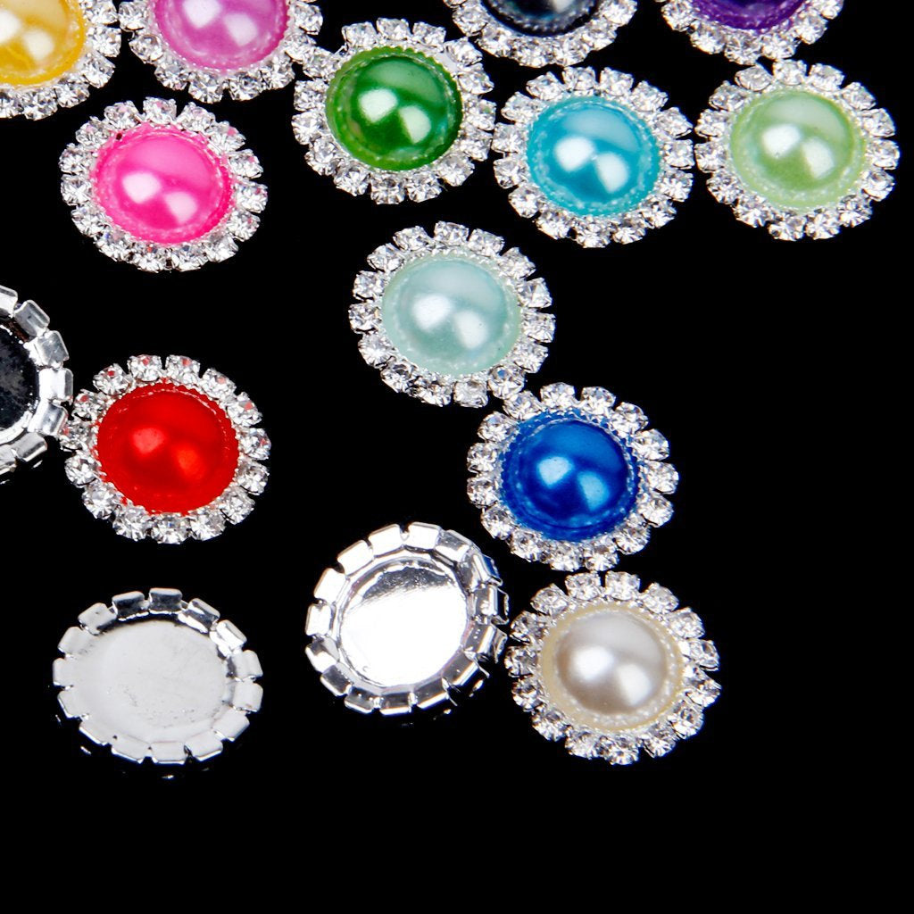 2 Mixed Color Pearl Rhinestone Flatback Button - Silver - 20mm Metal Embellishment - Pearl Rhinestone Buttons