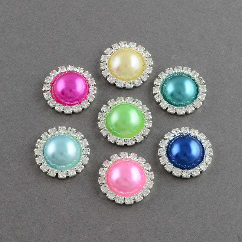 2 Mixed Color Pearl Rhinestone Flatback Button - Silver - 20mm Metal Embellishment - Pearl Rhinestone Buttons - Hair Bow Centers