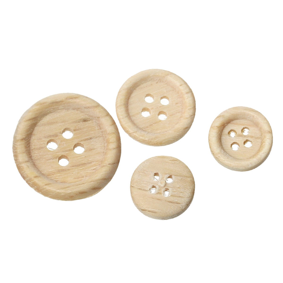 100 Natural Wooden Buttons - Mixed Sizes from 25mm (1 inch) to 8mm (1/3 inch) -  4 hole
