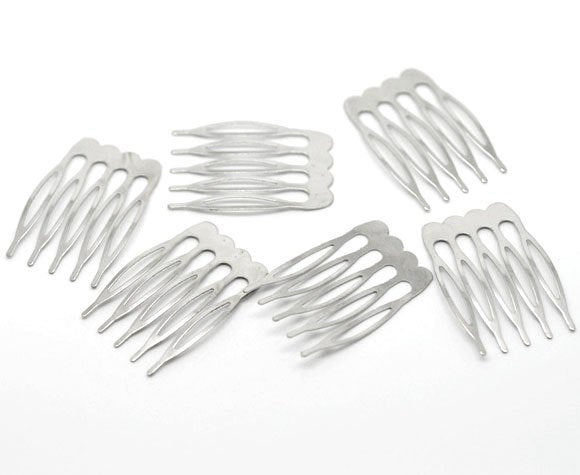 10 Silver Hair Combs - Nickel Free - Lead Free - Wedding Bridal Comb - 39mm x 26mm