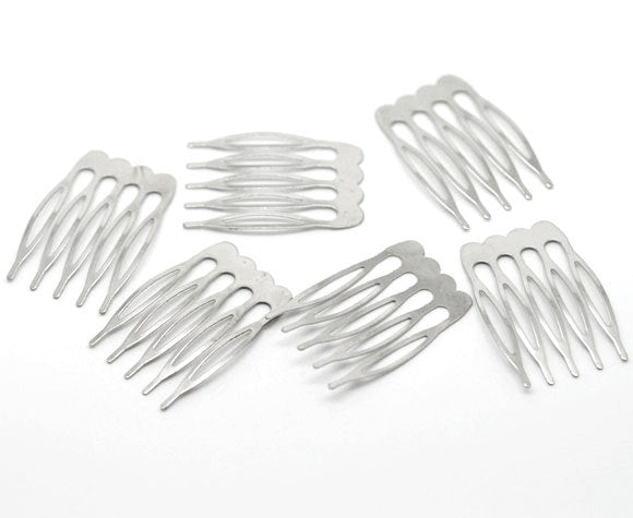 90 Silver Hair Combs - Nickel Free - Lead Free - Wedding Bridal Comb - 39mm x 26mm