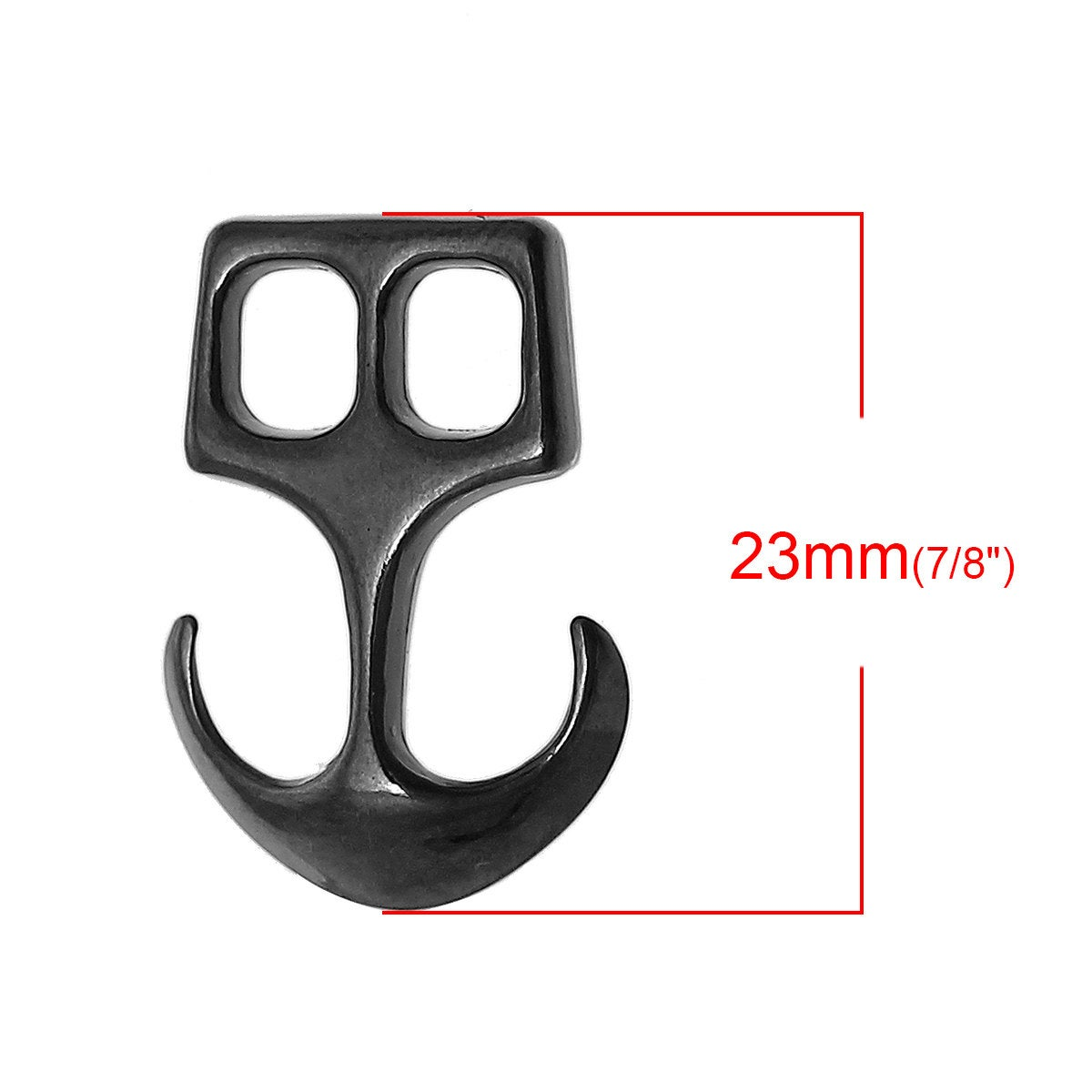 "Gunmetal Anchor Clasp Connector - Black - 23mm x 16mm (7/8"" x  5/8"") - Black Anchor Clasp for Leather"