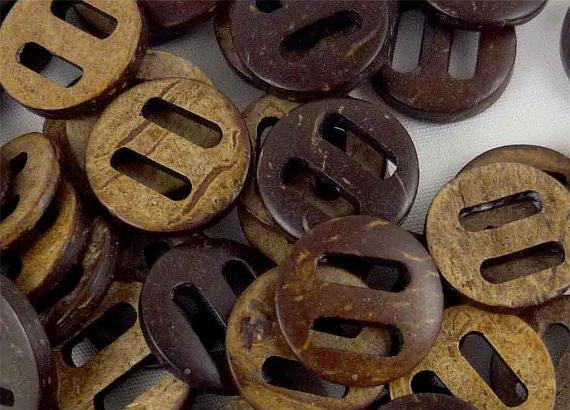 Coconut Wooden Button - 15mm - Large Hole - Wood Buttons
