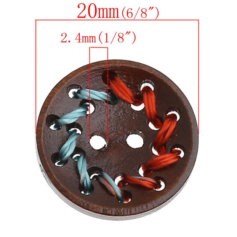 Dark Brown Wooden Buttons - Multi Color Thread - 20mm -  2 hole