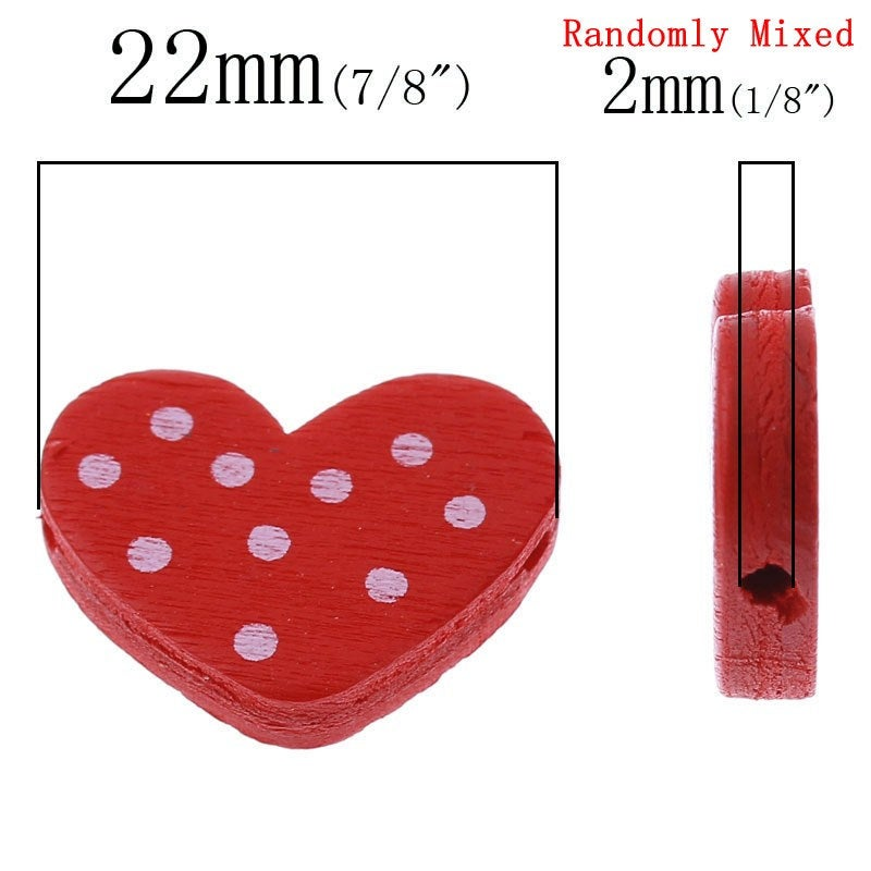"Heart Polka Dot Wooden Beads -  22mm x 17mm (7/8"" x 5/8"") - Valentines Day - Randomly Mixed Colors - 2 Hole"