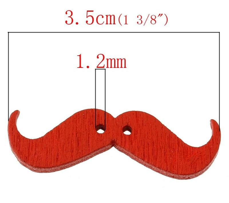 "Mustache Wooden Beads -  3.5cm x 1.1cm (1 3/8"" x 3/8"") - Wood Randomly Mixed Colors - 2 Hole"