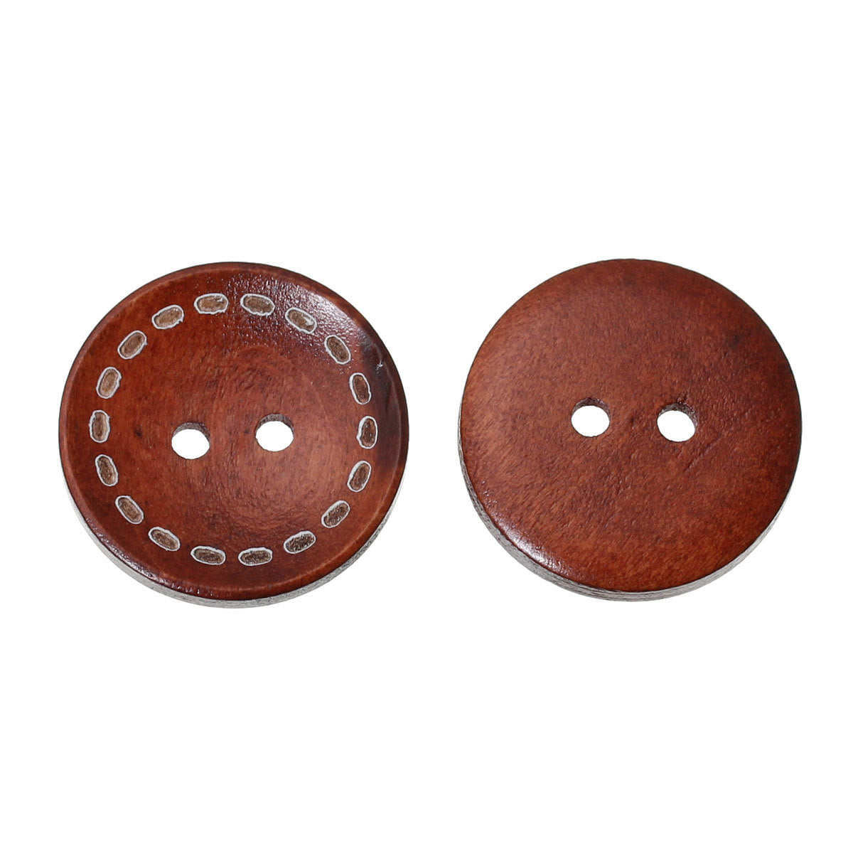 Brown Wooden Buttons - Stitch Design - 20mm - 3/4 inch -  2 hole