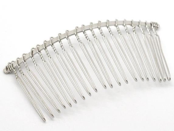 5 Silver Hair Combs - Nickel Free - Lead Free - Wedding Bridal Comb - 78mm x 38mm (3 inch x 1.5 inch)