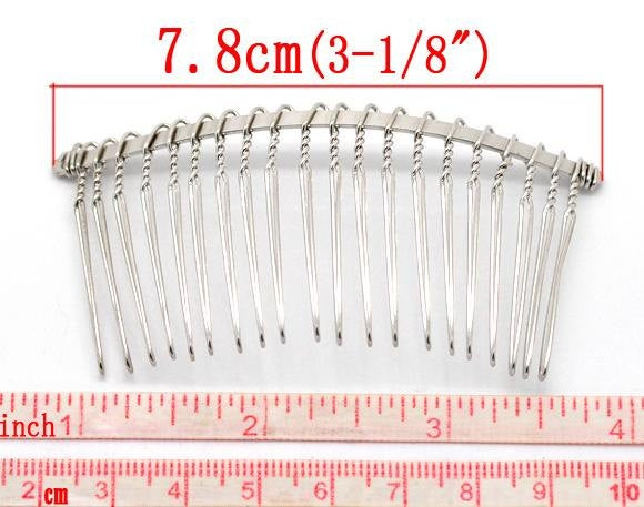 50 Silver Hair Combs - Nickel Free - Lead Free - Wedding Bridal Comb - 78mm x 38mm (3 inch x 1.5 inch)