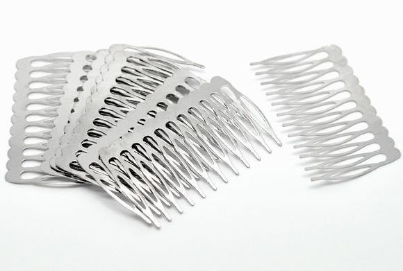 "5 Silver Hair Combs - Nickel Free - Lead Free - Wedding Bridal Comb - 39mm x 64mm (1.5"" x 2 1/2"")"