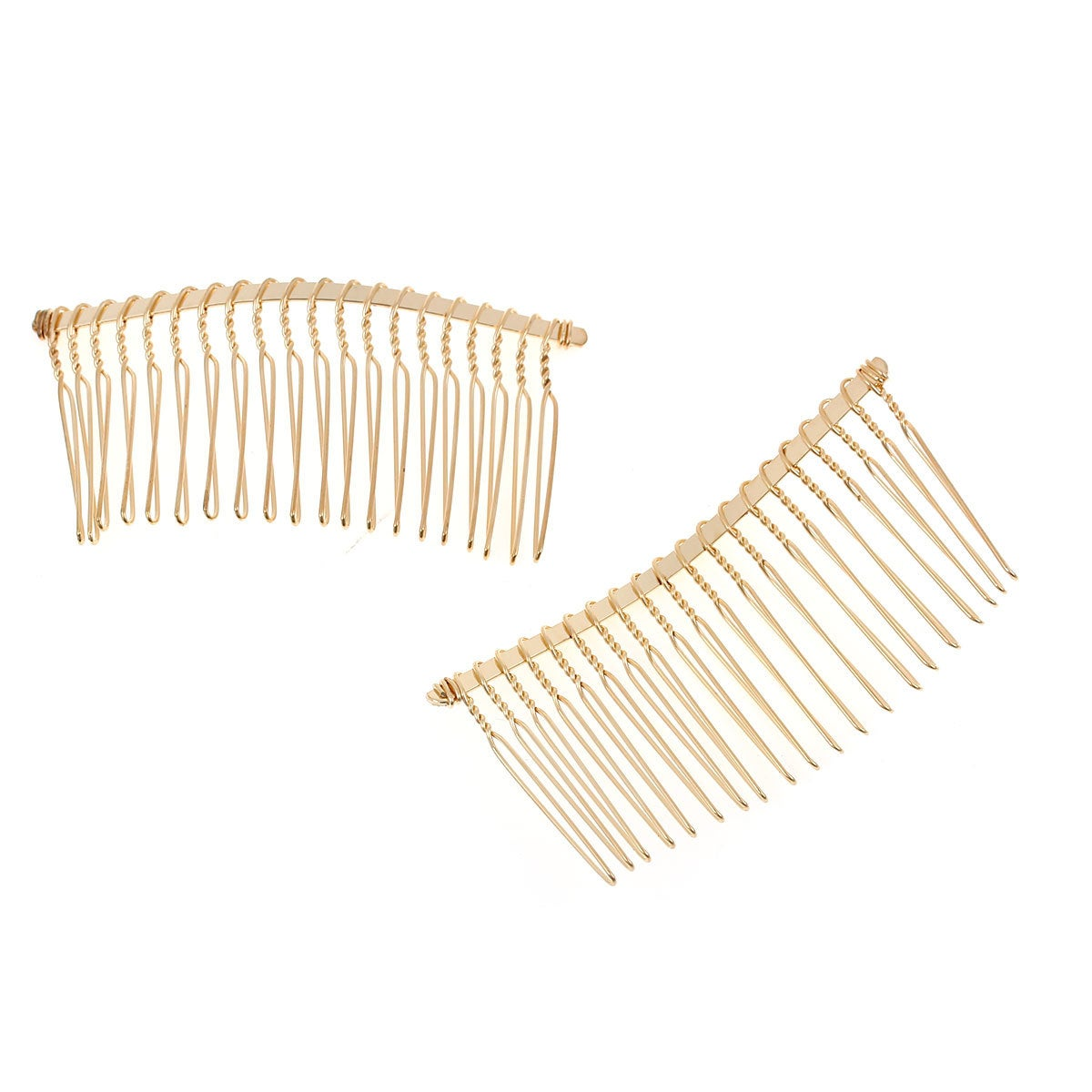 5 Gold Plated Hair Combs - Nickel Free - Lead Free
