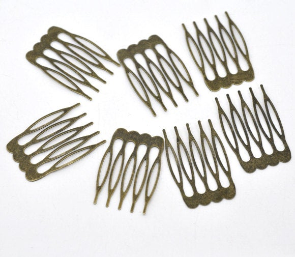 10 Bronze Hair Combs - Nickel Free - Lead Free - Wedding Bridal Comb - 39mm x 26mm