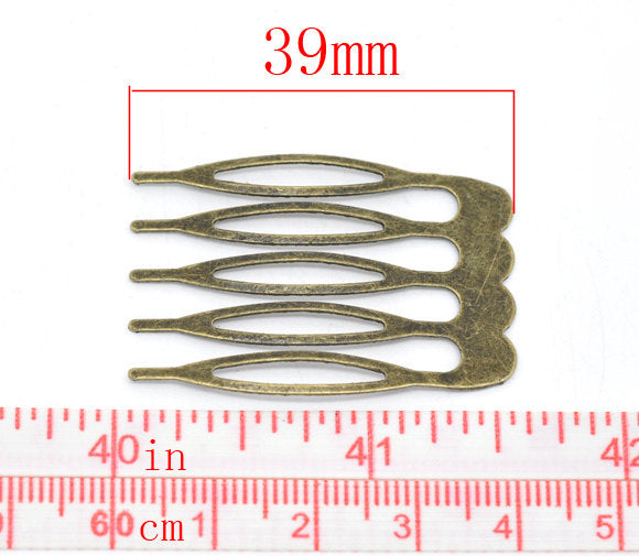 5 Bronze Hair Combs - Nickel Free - Lead Free - Wedding Bridal Comb - 39mm x 26mm
