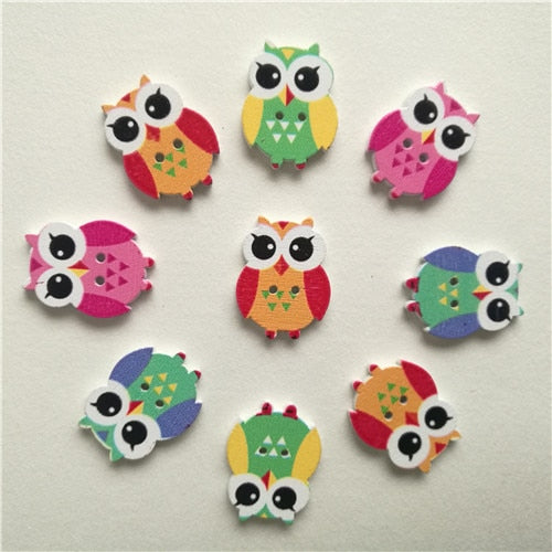 50pc Mixed Animals 2Hole Wooden Buttons for Scrapbooking Crafts DIY Baby Children Clothing Sewing Accessories Button Decoration