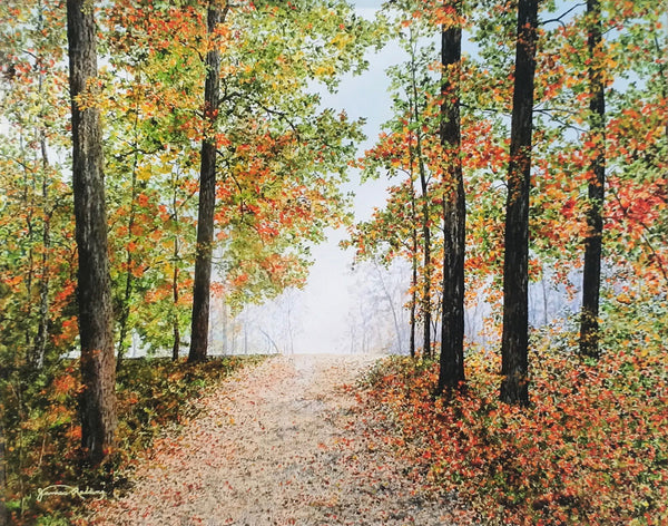 a beautiful fall day small art painting