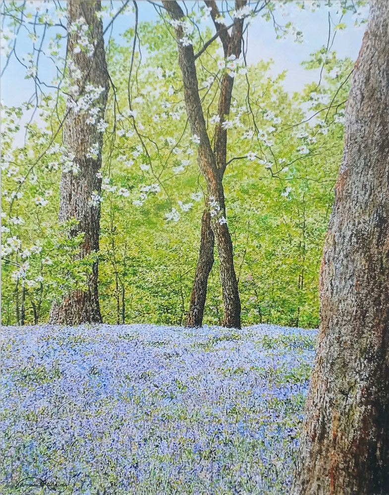 bluebells small art painting