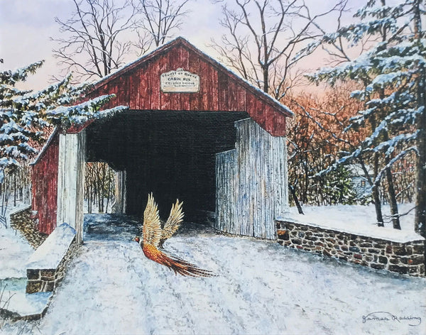 cabin run covered bridge small art painting