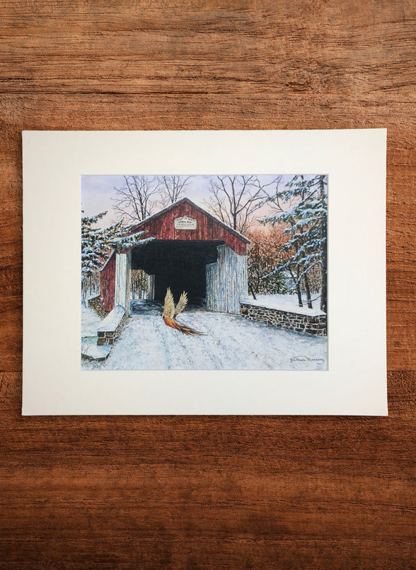 cabin run covered bridge small landscape painting