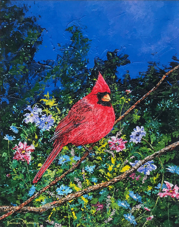 cardinal in garden small art painting
