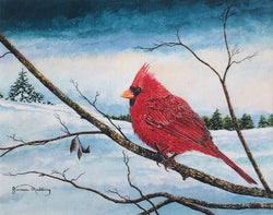 cardinal pastel sky small art painting