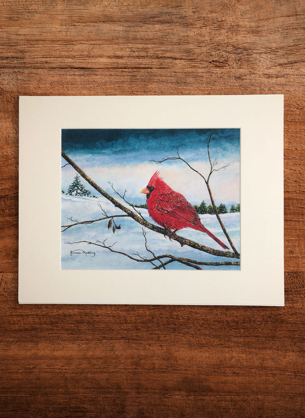cardinal pastel sky small bird painting