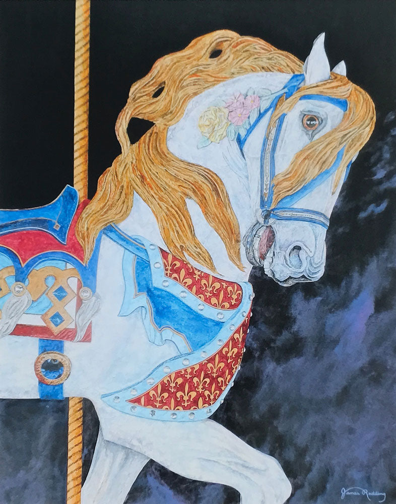 carousel horse small art painting