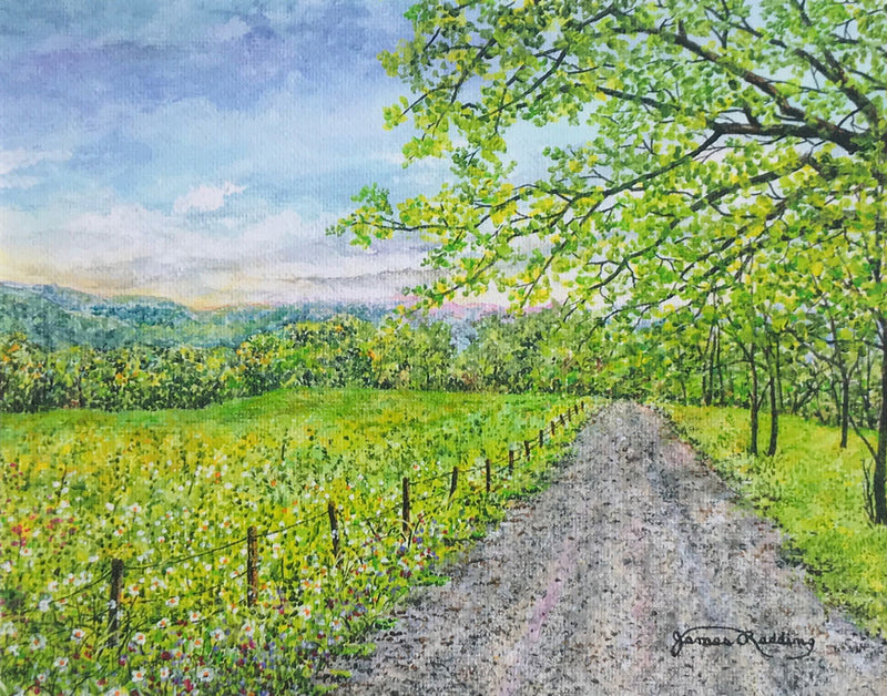 country road small art painting