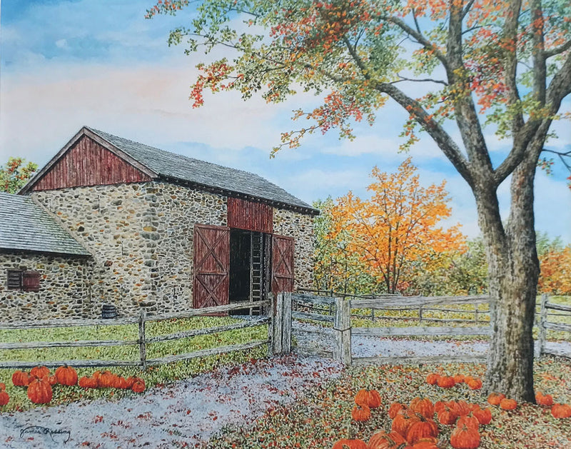 fall harvest small art painting