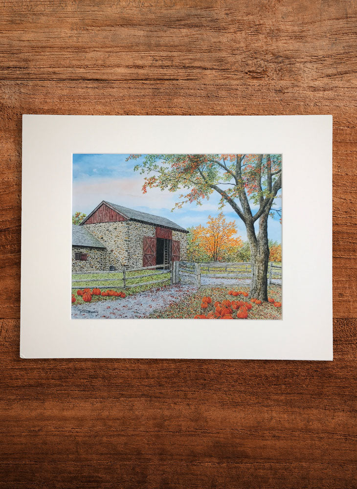 fall harvest small landscape painting