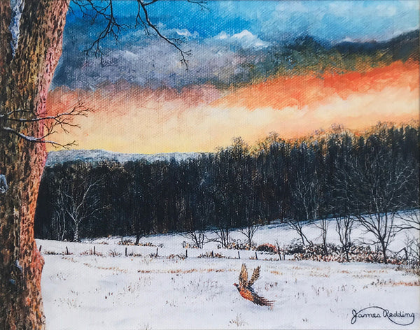 fiery sky small art painting