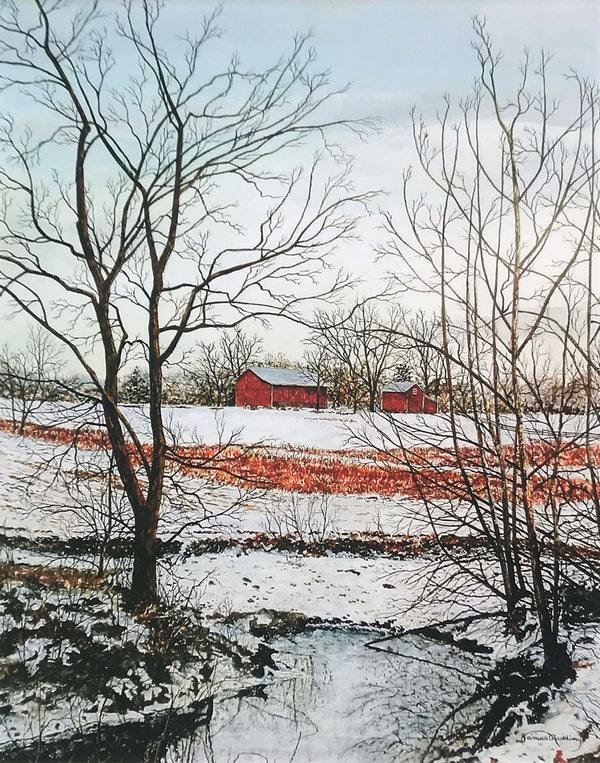 little red barn small art painting