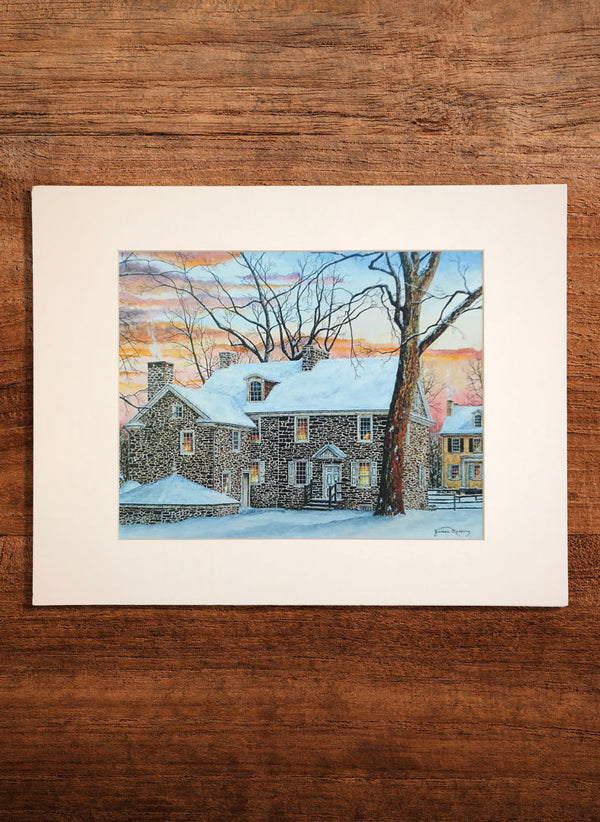 mcconkey ferry inn winter small landscape painting