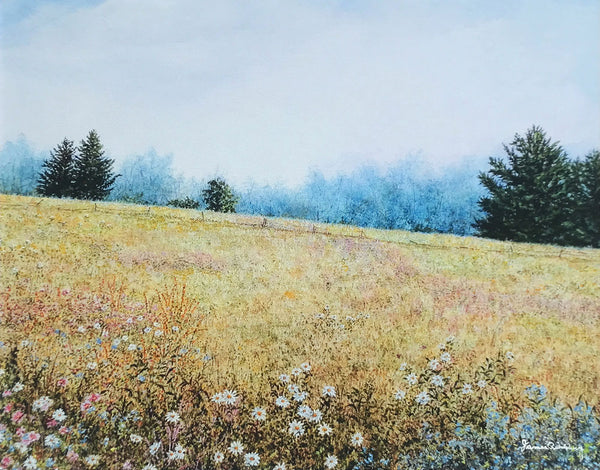 misty meadow small art painting