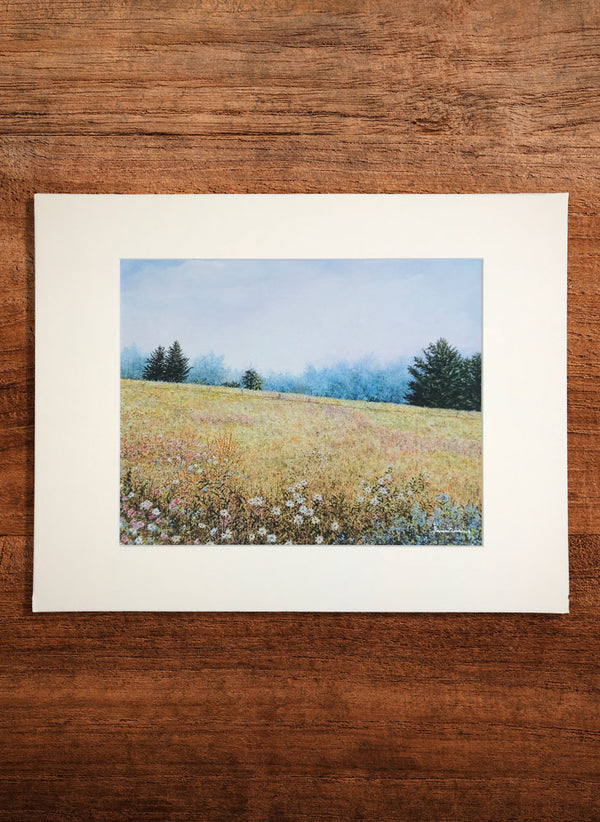misty meadow small landscape painting