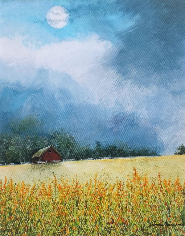 moon field small art painting