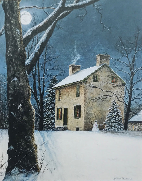 moonlight at hibbs house small art painting