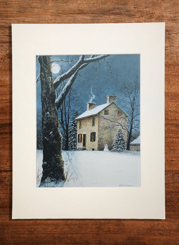 moonlight at hibbs house small landscape painting